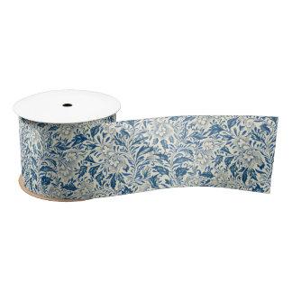 Blue floral Pattern Antique Vintage Satin Ribbon
