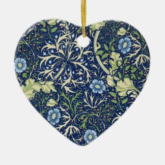 Blue Floral Pattern Ceramic Heart Decoration
