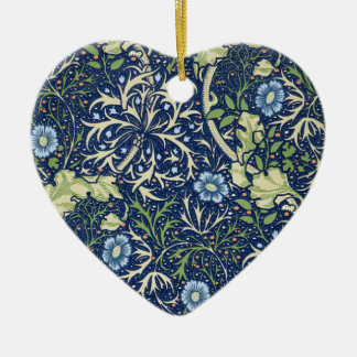 Blue Floral Pattern Christmas Ornament