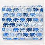 Blue Floral Pattern Elephants Mouse Mat