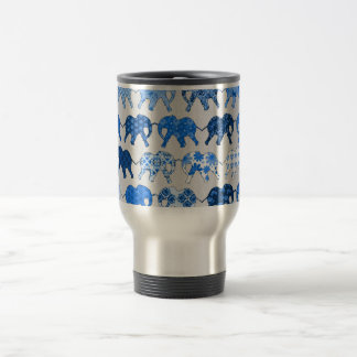 Blue Floral Pattern Elephants Stainless Steel Travel Mug