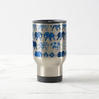 Blue Floral Pattern Elephants Travel Mug