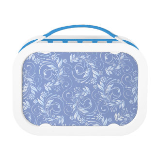 blue floral pattern lunch box