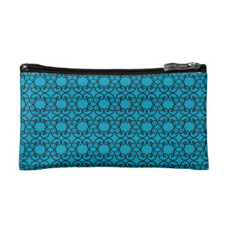 Blue Floral Pattern Makeup Bag
