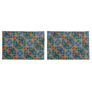 Blue Floral Pattern Pillowcase