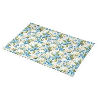 Blue floral pattern placemat