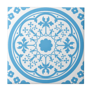 Blue Floral Pattern Small Square Tile