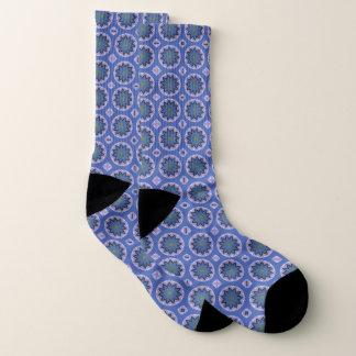 Blue Floral Pattern Socks