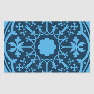 Blue Floral Pattern Rectangle Stickers