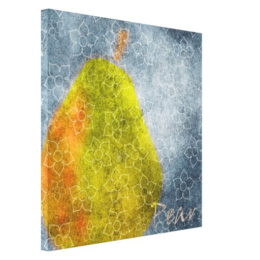 Blue Floral Pear Stretched Canvas Prints