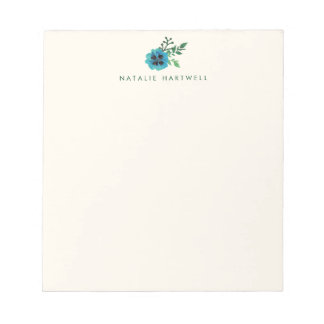 Blue Floral Personalized Notepad