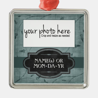 Blue Floral Personalized Photo Keepsake Christmas Ornament