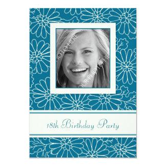 "Blue Floral Photo 18th Birthday Party Invitations 5"" X 7"" Invitation Card"