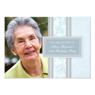 Blue Floral Photo 90th Birthday Party Invitations