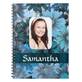 Blue floral photo template notebook