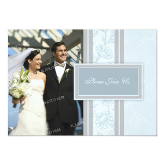 Blue Floral Photo Wedding Vow Renewal Invitations