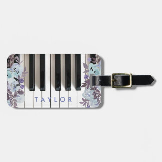 blue floral piano design luggage tag