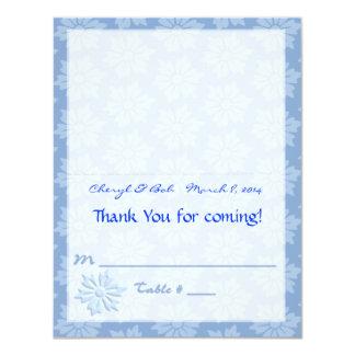 Blue Floral Placecard 11 Cm X 14 Cm Invitation Card