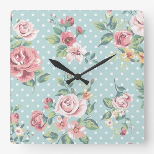 Blue Floral Polka Dot Square Wall Clock
