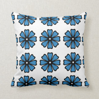 """Blue Floral - Polyester Throw Pillow 16"""" x 16"""" Cushions"""