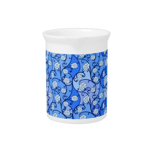 Blue Floral Porcelain Pitcher