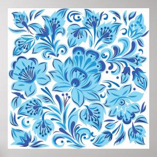 Blue Floral Poster