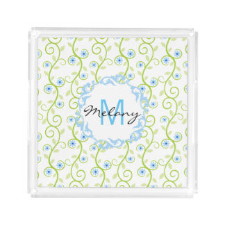 Blue Floral Print Monogram Acrylic Tray