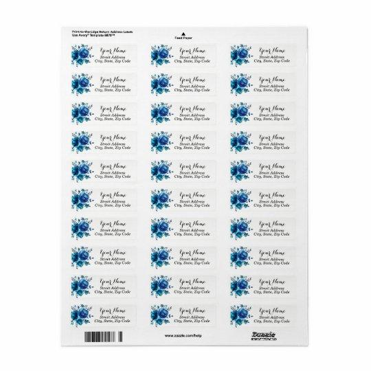 Blue Floral Return Address Labels
