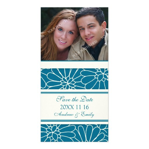 Blue Floral Save the Date Wedding Photo Cards