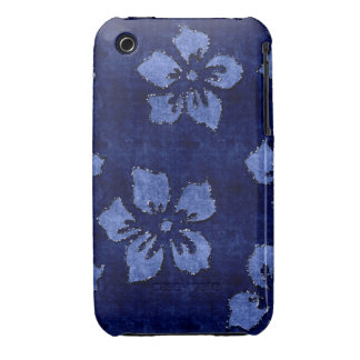 Blue Floral Sequin Glitter Velvet Look Case iPhone 3 Case