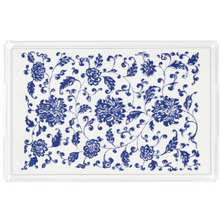 Blue Floral Serving Tray