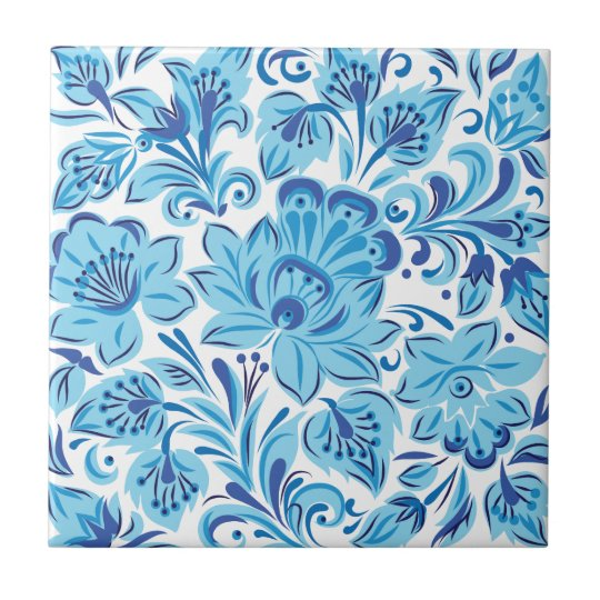 Blue Floral Small Square Tile