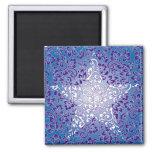 blue floral star magnet