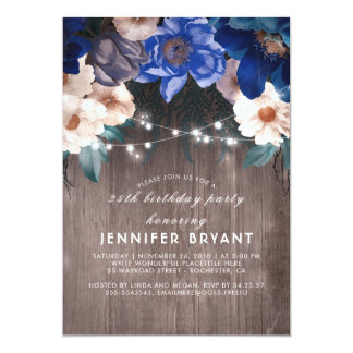 Blue Floral String Lights Rustic Birthday Party Card