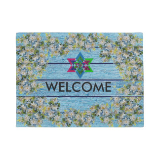 Blue Floral Stylish Star Welcome Door Mat