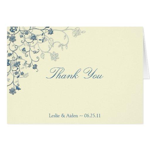 Blue Floral Swirls on Cream Thank You Card