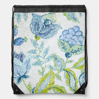 Blue Floral Tapestry with Glitter Effect Drawstring Backpacks
