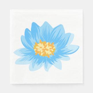 Blue Floral Turquoise Flower Wedding, Party Paper Serviettes