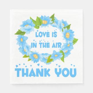 Blue Floral Turquoise Thank You Love Wedding Disposable Serviettes