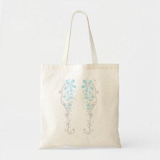 Blue Floral Vines Canvas Bag