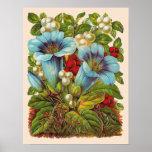 """Blue Floral"" Vintage Flowers Print"