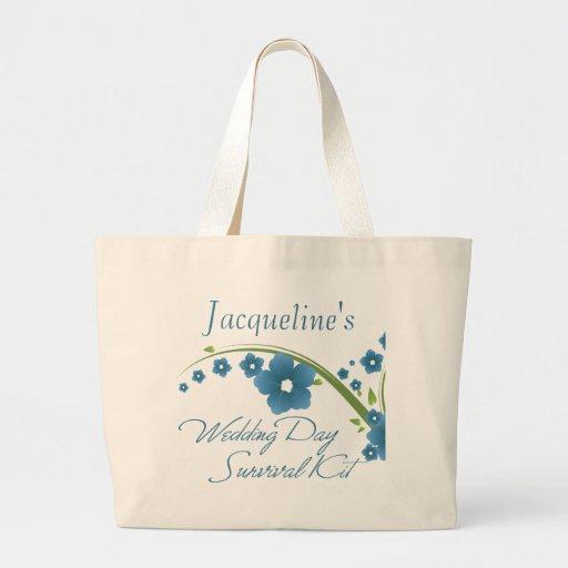 Blue Floral Wedding Day Survival Kit Bag