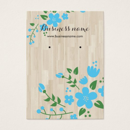 Blue Floral Wood Rustic Background Earring Cards