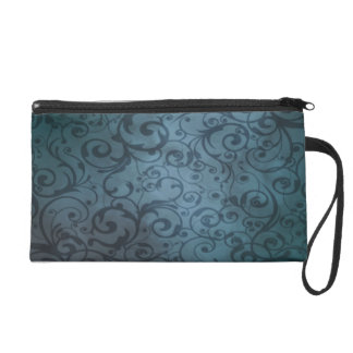 Blue Flourish Wristlet Clutch