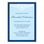 Blue Flourish Scroll Hanukkah Holiday Party 13 Cm X 18 Cm Invitation Card