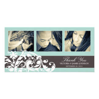 BLUE FLOURISH | WEDDING THANK YOU CARD CUSTOM PHOTO CARD