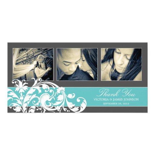 BLUE FLOURISH | WEDDING THANK YOU CARD PICTURE CARD