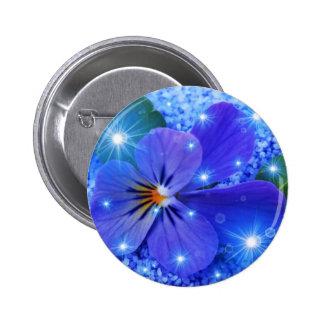 blue flower 6 cm round badge