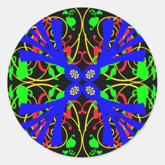 Blue Flower Abstract Round Sticker
