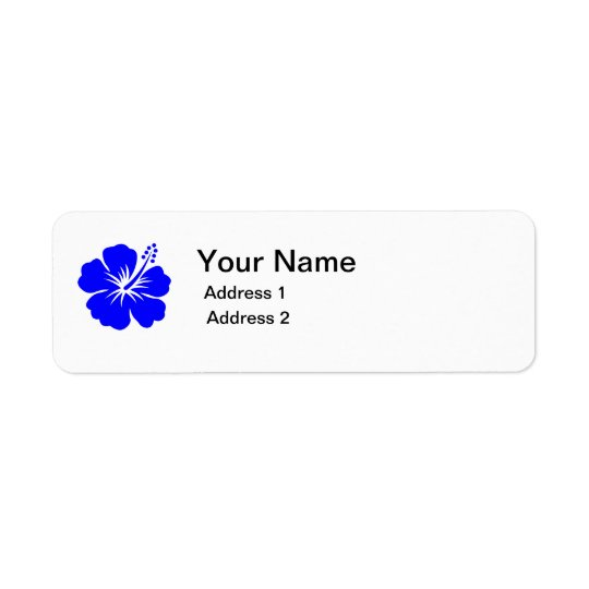 blue flower address label